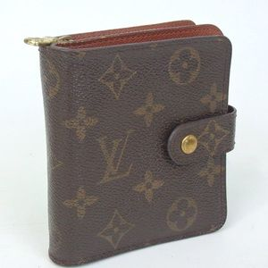 Authentic VUITTON monogram compact zip wallet FIRM